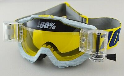100% PERCENT ACCURI MOTOCROSS GOGGLE ATHLETO YELLOW with ROLL OFF CANISTERS