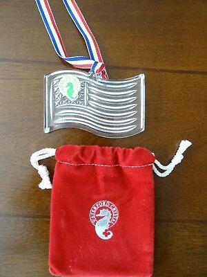 Waterford LEAD Crystal American FLAG Made in Germany Ornament in Bag