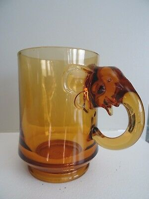 1968 Lincoln Day Dinner Amber Glass ELEPHANT HANDLE MUG GOP Republican Party