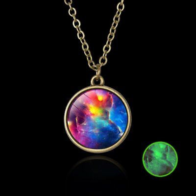 Retro Universe Galaxy Nebula Space Glass Ball Pendant Glow in the dark Necklace