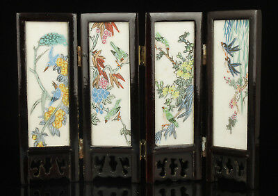 Chinese Old Collectible Handwork  Painting Marble Screen Desktop Decoration