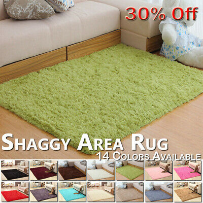 Fluffy Rugs Anti-Skid Shaggy Area Carpet Dining Room Home Bedroom Floor Mat