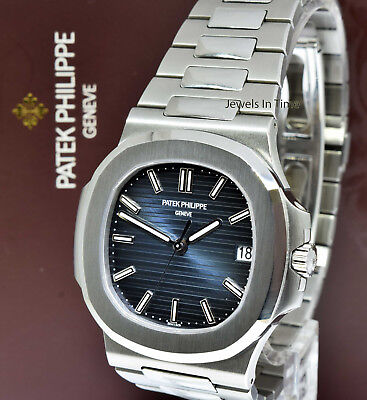 Patek Philippe Nautilus Stainless Steel Blue Dial Watch Box Papers