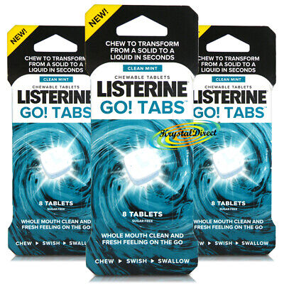 3x Listerine Go! Tabs Clean Mint 8 Chewable Fresh Breath Tablets