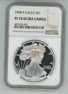 1998 P American Silver Eagle Ngc Pf-70 Ultra Cameo