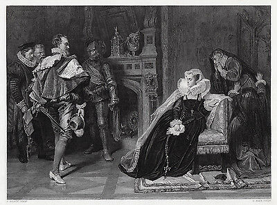 "1800s Carlo PILOTY Engraving ""Death for Mary Queen of Scots"" Framed SIGNED COA"