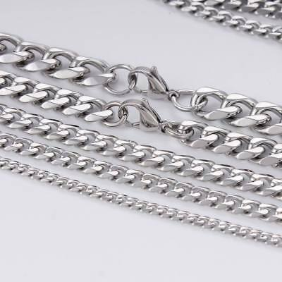 3~15mm MENS Boys Chain Silver Tone Curb Link Stainless Steel Necklace 14-46''