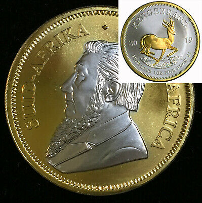 2019 1 OZ Silver Ounce South Africa Krugerrand 24KT Gold STUNNING +Clear Capsule