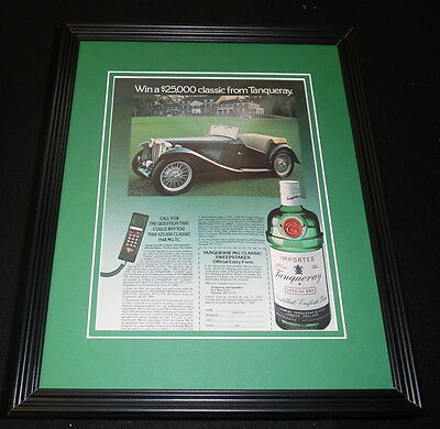 1985 Tanqueray Gin Framed 11x14 ORIGINAL Vintage Advertisement