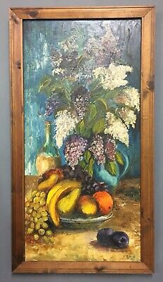 Large Vintage Mid Century French Oil On Board Painting, Signed