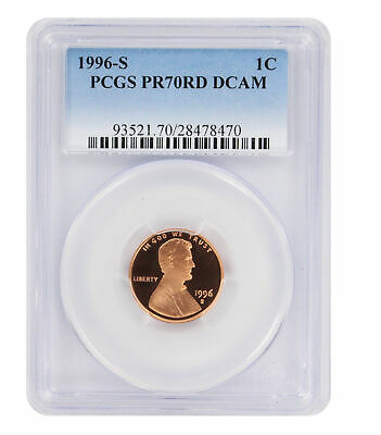 1996-S Lincoln Cent PR70RD DCAM PCGS Proof 70 Red Deep Cameo