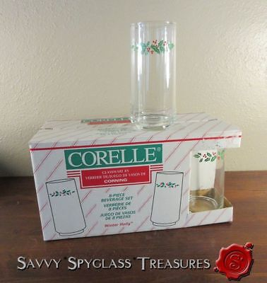 Boxed Set of EIGHT Corelle Winter Holly 14 oz. Glassware Tumblers