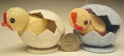 Hatching Easter! 2pc Vintage Flocked Paper-Mache Chick in Egg White & Blue Set