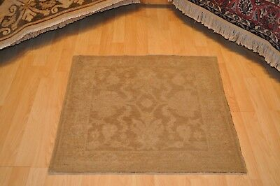 Afghan Chobi handmade rug, square 4'x4' Beige Oriental soft muted washed out rug