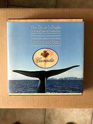 "(2) 2010 Royal Canadian Mint ""Blue Whale"" $10 Silver Coin And Stamp Sets"