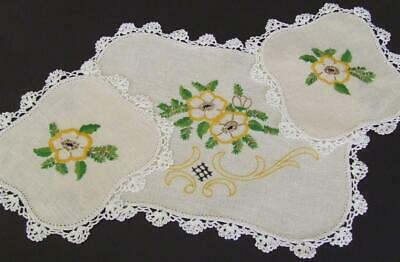Hand Embroidered Vintage Duchess Set - Yellow Floral Pattern - Crocheted Edgings
