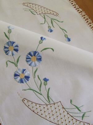 Very Large Vintage Hand Embroidered Centre Mat - Blue Cornflowers - Crochet Edge