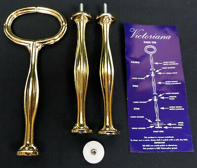 New Gold Coloured 1, 2, 3-Tier Cake Stand Poles, England, Used For Royal Albert