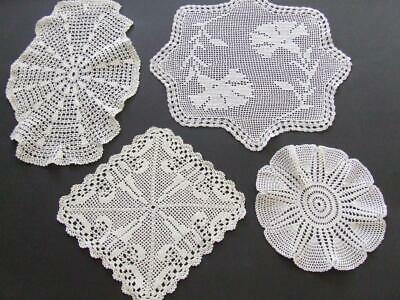 Four Beautiful White Finely Hand Crocheted Doilies Worked in Filet Patterns