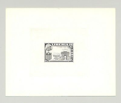 Liberia #C115 Arc de Triomphe 1v Trial Color Die Proof, Missing Flag #2