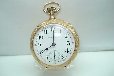 1889 Antique Size Seth Thomas Pocket Watch Gold Flashed Sunflower  Serviced