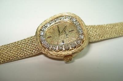 Mathey Tissot 14 Kt Gold Diamond Ladies Wristwatch Triple Signed Serviced