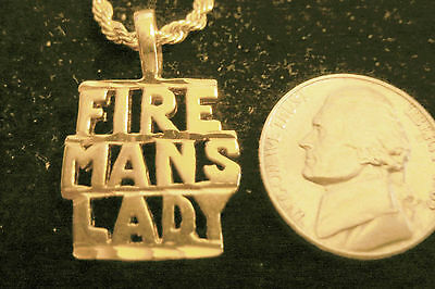 bling gold plated firemans lady pendant charm fashion hip hop necklace jewelry