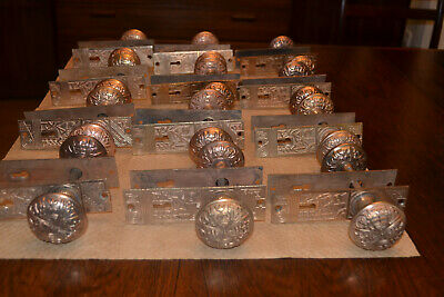 12 COMPLETE SETS Antique East Lake Floral Solid Brass Door Knobs AND Face Plates