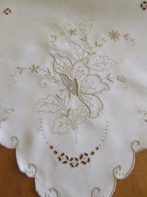 Cream Cotton Embroidered and Cutwork Tablecloth - 108 x 104 cm