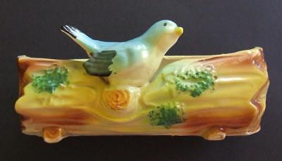 Lovely Vintage Australian Pottery Log Vase with Blue Bird Perched on the Edge