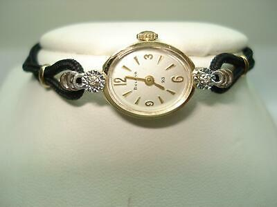 14 Kt Gold Ladies 23 Jewel Diamond Bulova Wristwatch Professionally Serviced