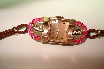 14 Kt Rose Gold Ruby Diamond Art Deco Ladies Wristwatch by Ollendorff