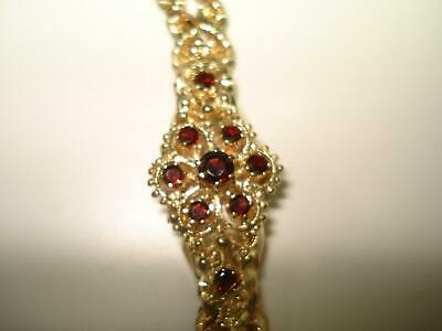 14 Kt Gold Ladies Cordova Wristwatch Flip Top Garnet Studded Rope Style Bracelet