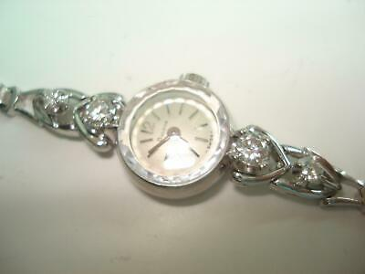 Bulova Diamond 1/2 cttw 14 Kt White Gold Extended Heart Lugs Ladies Wristwatch