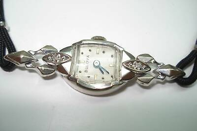 1952 Ladies 14 Kt White Gold Diamond Bulova Wristwatch Extended Lugs