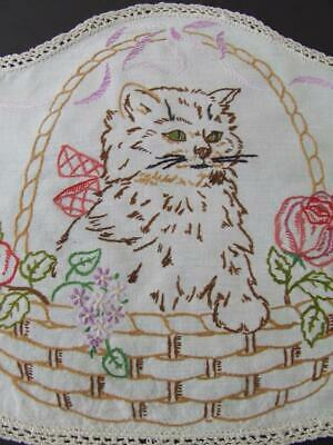 Hand Embroidered Vintage Centre - Cute Kitten - Basket of Florals - Crochet Edge