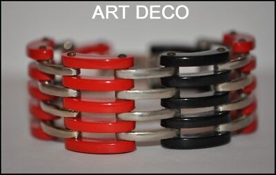 FAB FRENCH ART DECO 1930's CARVED RED BLACK GALALITH AND CHROME GRILL BRACELET