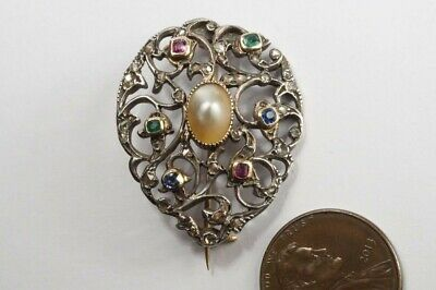 BEAUTIFUL ANTIQUE GEORGIAN SILVER & GOLD MULTI GEM DIAMOND EMERALD BROOCH c1780
