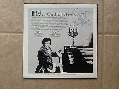 Liberace  SIGNED LP Cover Candlelight Classic Mr Showmanship !!