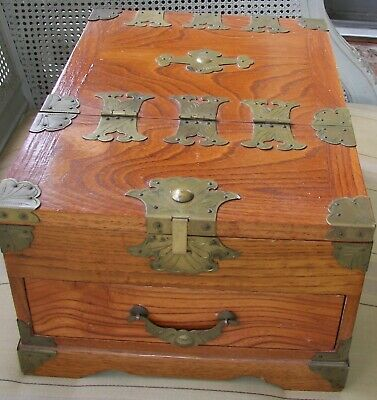"LARGE Vintage CHINESE Oak AND Brass Jewelry Box w/Mirror Inside 13""x 9.5""x 6.5"""