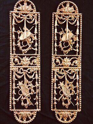 Antique Ornate French gilt brass Metal door finger plates Victorian Decoration