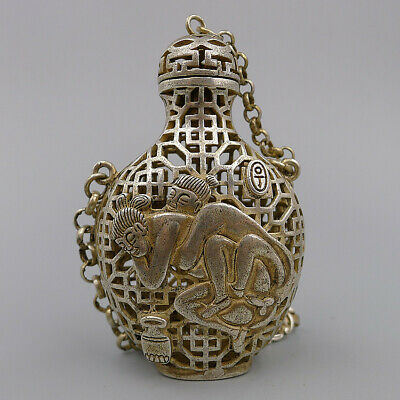 Hand Carved Hollow Snuff Bottle Chian Pendant Relief Nude Natural Antique Silver