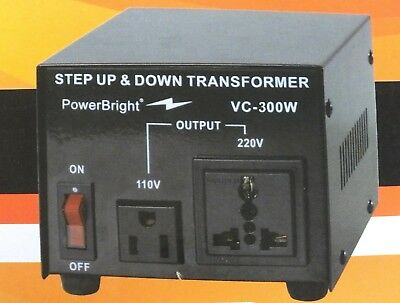 Voltage Transformer 300 Watt Step Up/Down Converter 110/120 - 220/240 Volt NEW