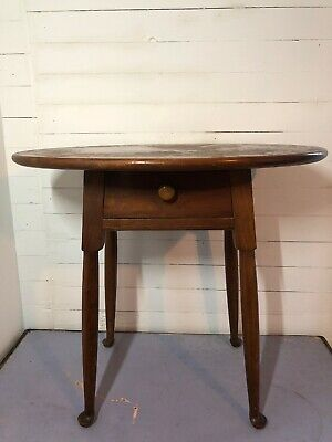 Original Leopold Stickley Oval Side Table With Original Labels In Drawer