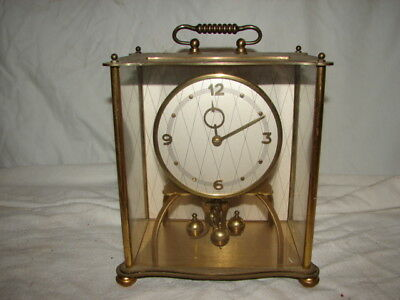 Vintage Kundo German Germany Kieninger & Obergfell Mantel Shelf Clock Metal Case