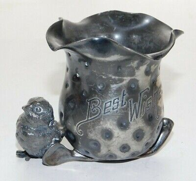 Meriden B. Co. Quadruple Silver Plated Little Chick Figural Toothpick Holder