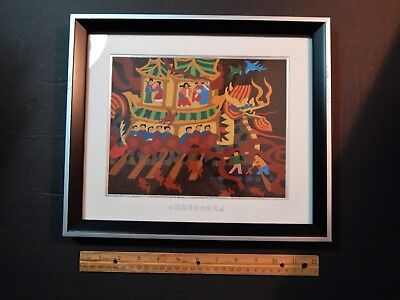 Colorful Exuberant Asian Chinese Boat Dragon Festival Painting Watercolor