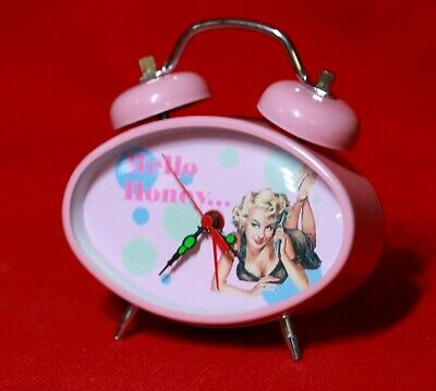 Pink Wind Up Alarm Clock with Pin-Up Girl on Face