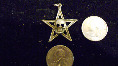 bling pewter 5 POINT STAR skull myth rite fashion pendant charm necklace jewelry