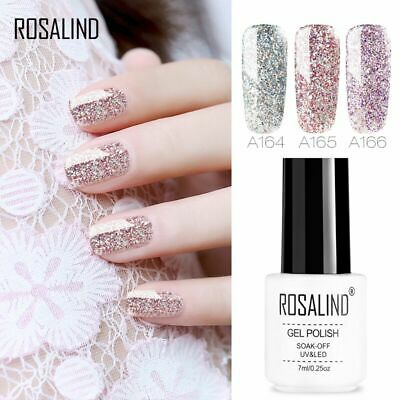 ROSALIND 7ml Glitter Soak off UV Gel Lacquer Hybrid Varnish Caviar Nail Polish